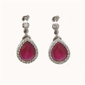 Silver and Ruby Earrings