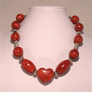 Red Coral Heart Necklace with 925 Stamped Sterling Silver Hand Made