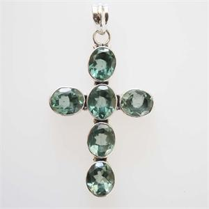 Silver and Blue Topaz Cross