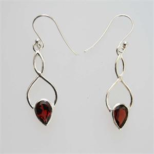 Silver and Garnet Earrings	 2