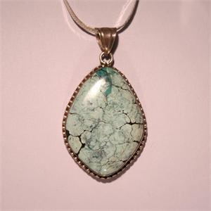 Turquoise and 925 Sterling Silver Pendant Hand Made in Russia
