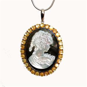 Silver and Mother -of-Pearl Cameo