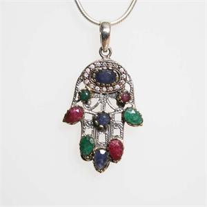 Silver and Multistone Hamsa Pendant