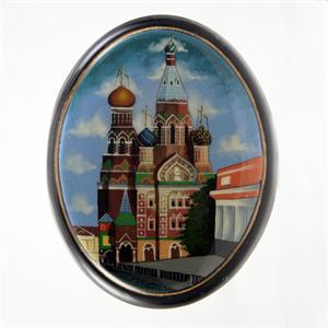 Russian Lacquer Box St Basil Cathedral by Soldatkin from Fedoskino Village