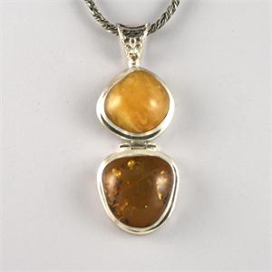 Amber and Silver Pendant 5