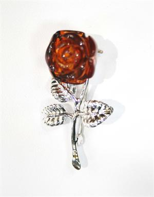 Baltic Amber Rose Pin in Sterling Silver Made in Lithuania