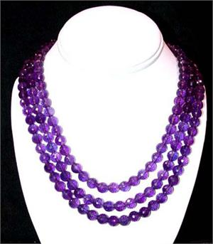 Amethyst Necklace 3 Strand