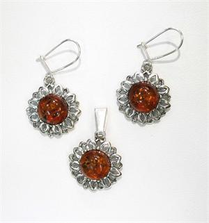 Baltic Amber Cognac Colored Set Earrings and Pendant in Silver