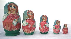 Girl with Handkerchief Nesting Doll