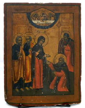 Antique Russian Icon: Mother of God appears to Sergei Rodonezhsky