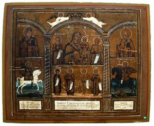 Antique Russian Icon: Mother of God with Selected Saints