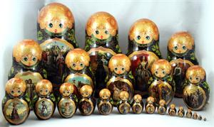 Paintings from the Tretyakov Gallery Matryoshka Nesting Doll Front View