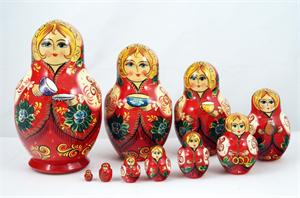 Tea Party Russian Matryoshka Nesting Doll Front View