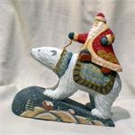 Russian Wooden Santa on a Polar Bear View 2