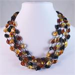 Baltic Amber Multicolored Necklace with 5 Strands