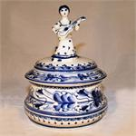 Lady with Guitar Box handpainted ceramic figurine