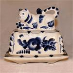 Butter Jar with Cow handpainted ceramic figurite