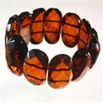 Cognac Color Baltic Amber Faceted Stretch Bracelet 2