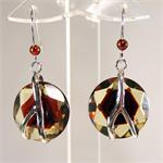 Green Amber Faceted Earrings set in 925 Sterling Silver