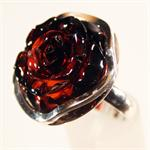 Cognac Amber Hand Carved Rose Ring set in 925 Sterling Silver 2