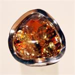 Green Baltic Amber Ring Set in 925 Sterling Silver Made in Lithuania