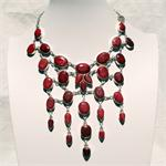 Ruby and Sterling Silver Designer Necklace