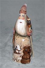 Russian Wooden Santa with Bear Carving