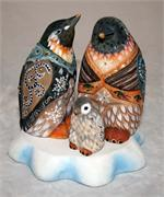 Russian Wooden Carving Visiting Grandma Penguins by Gromov