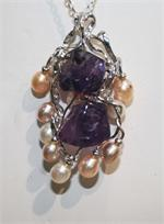 Amethyst and Pearl Designer Pendant set in Sterling Silver View 2