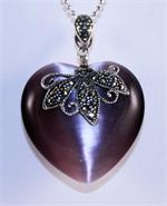 Cats Eye and Marcasite Heart Designer Pendant in Sterling Silver