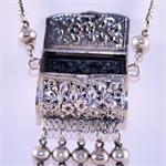 Designer Sterling Silver Purse Necklace View 2