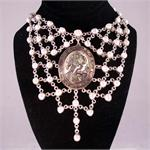 Designer Cameo and Mother of Pearl in Sterling Silver Necklace