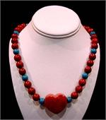 Turquoise and Red Corol Necklace