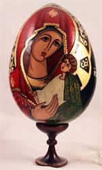 Religious Russian Wooden Egg by Volshenko
