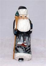 Russian Wooden Santa with Scenery Front