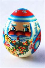 Russian Santa Wooden Christmas Egg