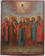 Antique Russian Icon - Selected Saints Saint Mark, Saint Ana, Saint Kiril, Saint Nickolay, and Saint Simon