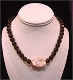 Smokey Quartz and Shell Necklace